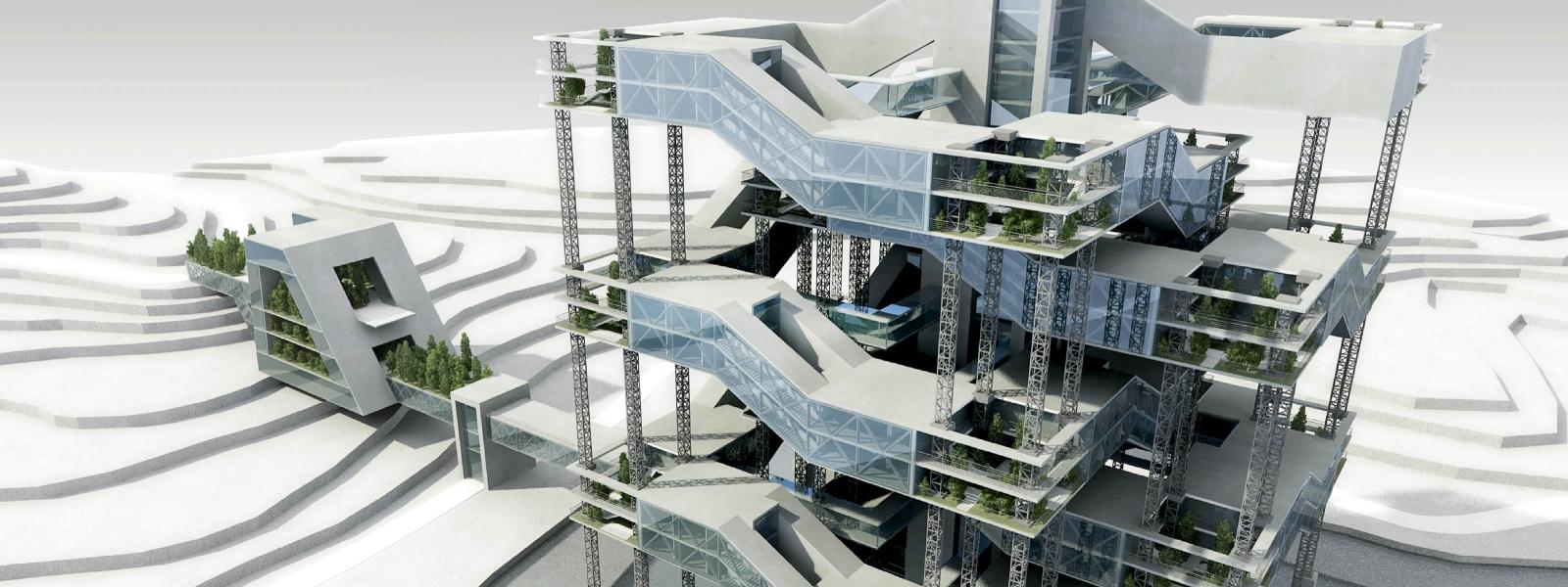 work-Экспериментальный жилой дом в условиях сложного рельефа с организацией переходного модуля