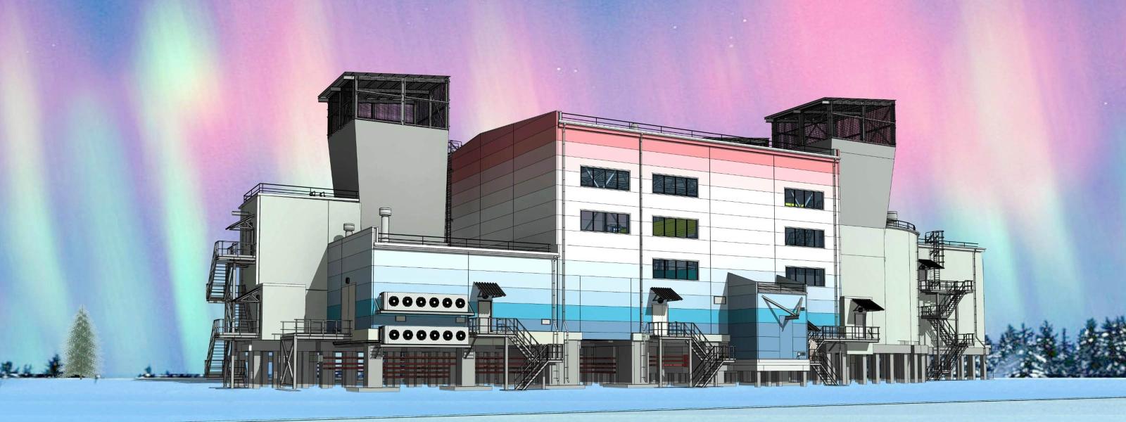 work-Здание вентиляторной установки на шахте Комсомольская в Воркуте
