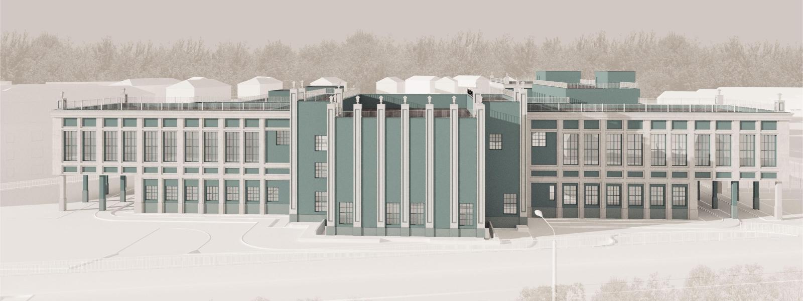 """work-""""Egor"""" Проект фасада здания гимназии №3 по ул. Детский проезд 10, в Советском районе Новосибирска (Академгородок)"""